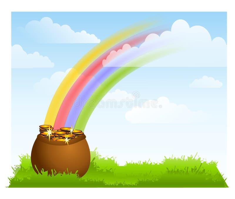 背景金罐彩虹天空 向量例证