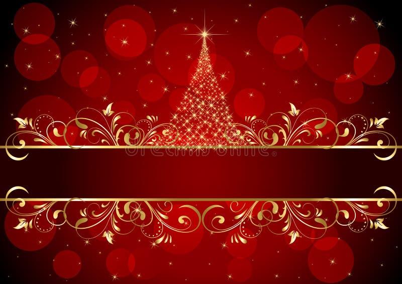 背景金黄圣诞节的框架 向量例证