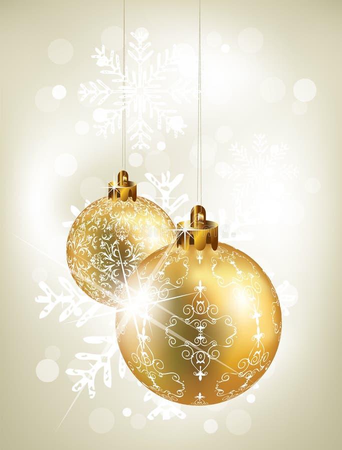 背景金黄球的圣诞节 库存例证