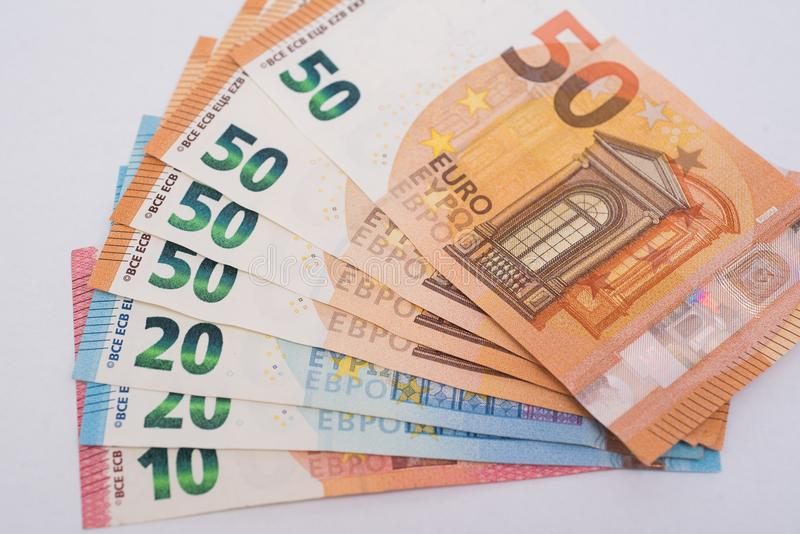 背景钞票欧洲白色 免版税库存图片