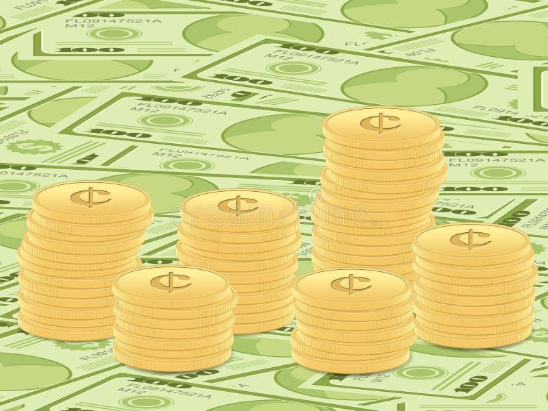 背景钞票硬币美元 库存例证