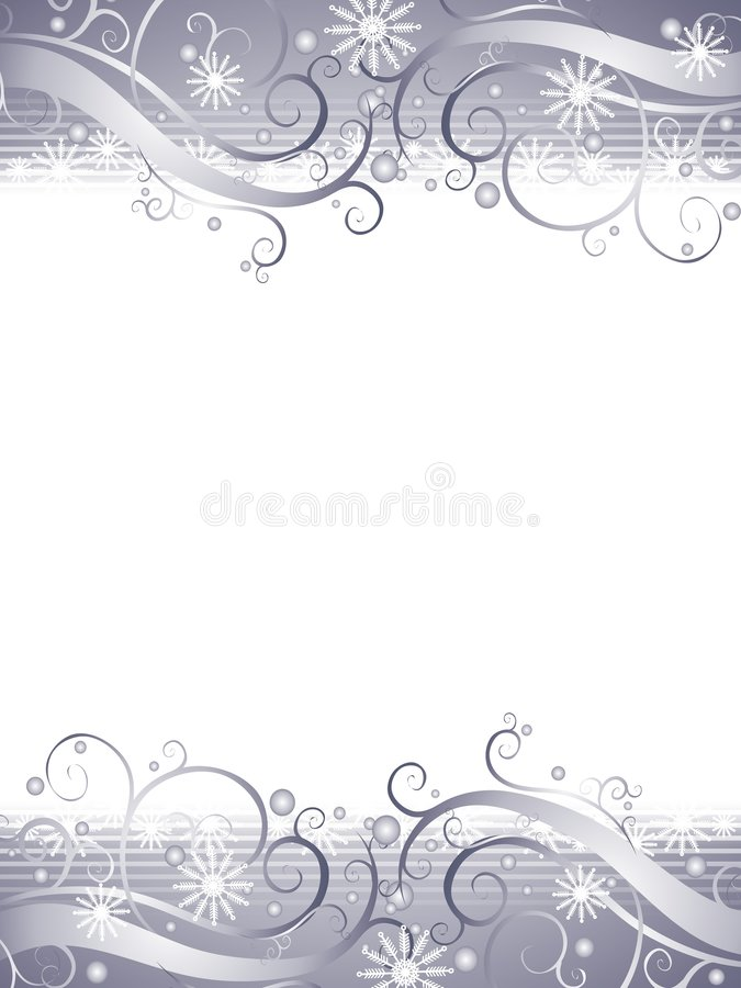 背景银色雪花冬天妙境 向量例证