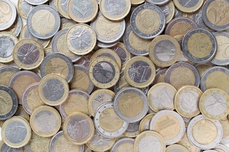 背景铸造欧元 欧洲货币 Flatlay顶视图 免版税图库摄影