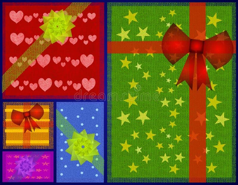 背景铺磁砖的圣诞节礼品 向量例证