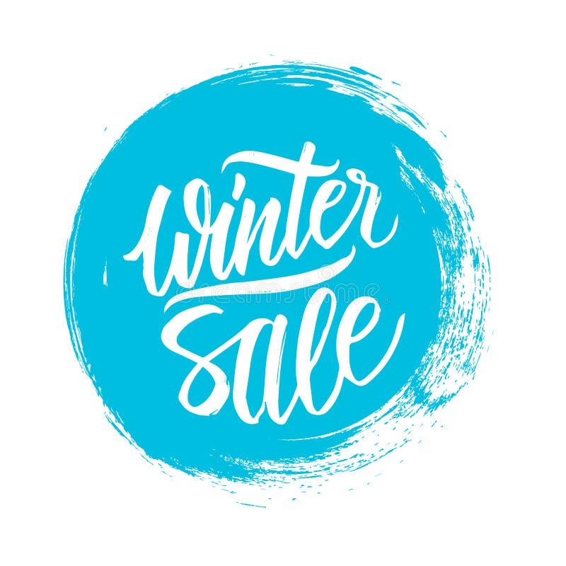 背景销售额文本向量冬天 与手写的文本设计的特价优待横幅和圈子掠过冲程 库存例证