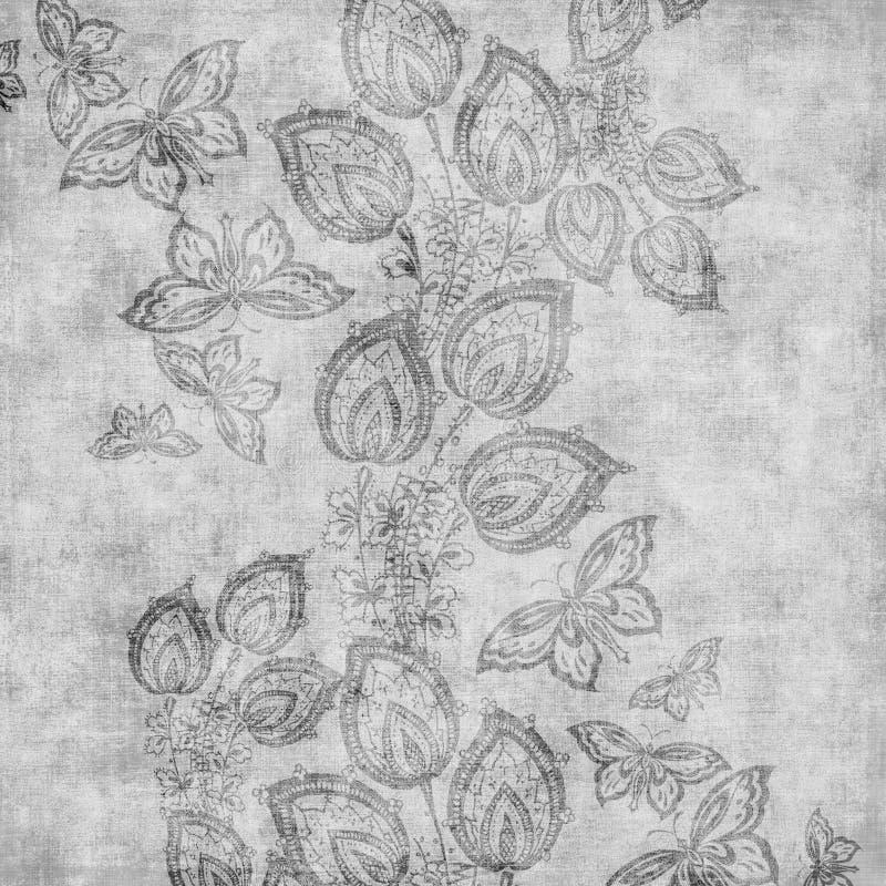 背景锦缎花卉脏的剪贴薄葡萄酒 库存例证
