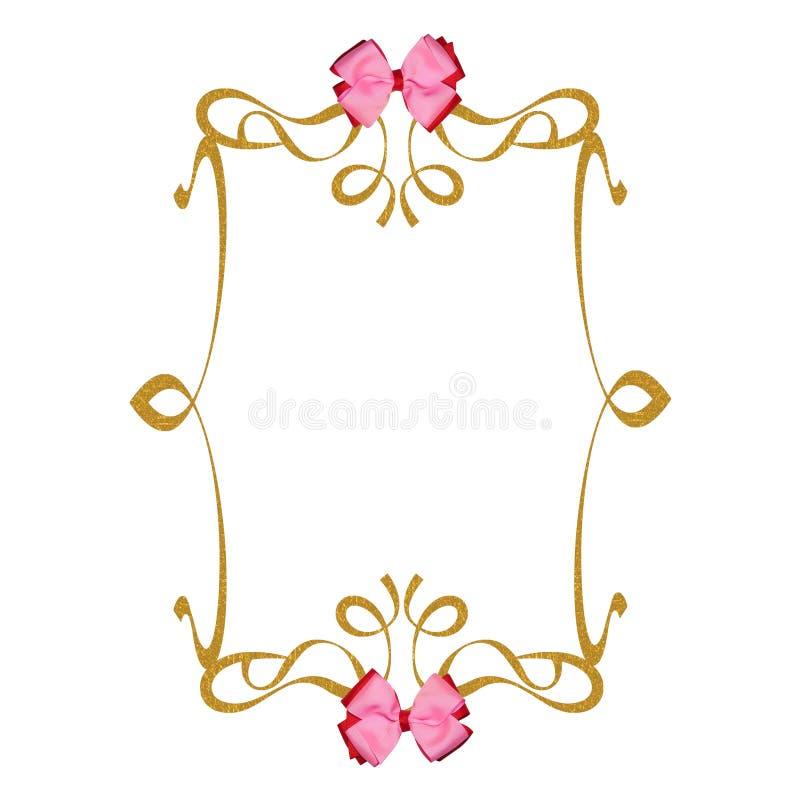 背景鞠躬框架金子粉红色丝带 皇族释放例证
