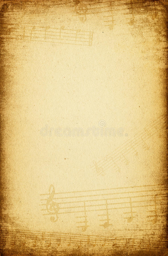 背景音乐纸张葡萄酒 免版税库存照片