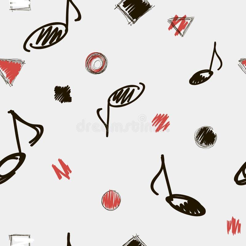 背景音乐附注声音 也corel凹道例证向量 与音乐笔记的无缝的黑色,白色和红色抽象样式 皇族释放例证