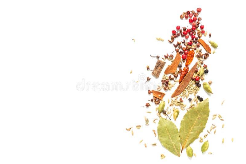 背景食物概念各种各样的香料海湾叶子,辣椒,芫荽子 豆蔻果实荚和茴香籽在白色背景 库存图片