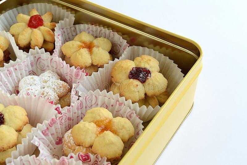 背景饼干果子查出的果酱白色 免版税库存图片