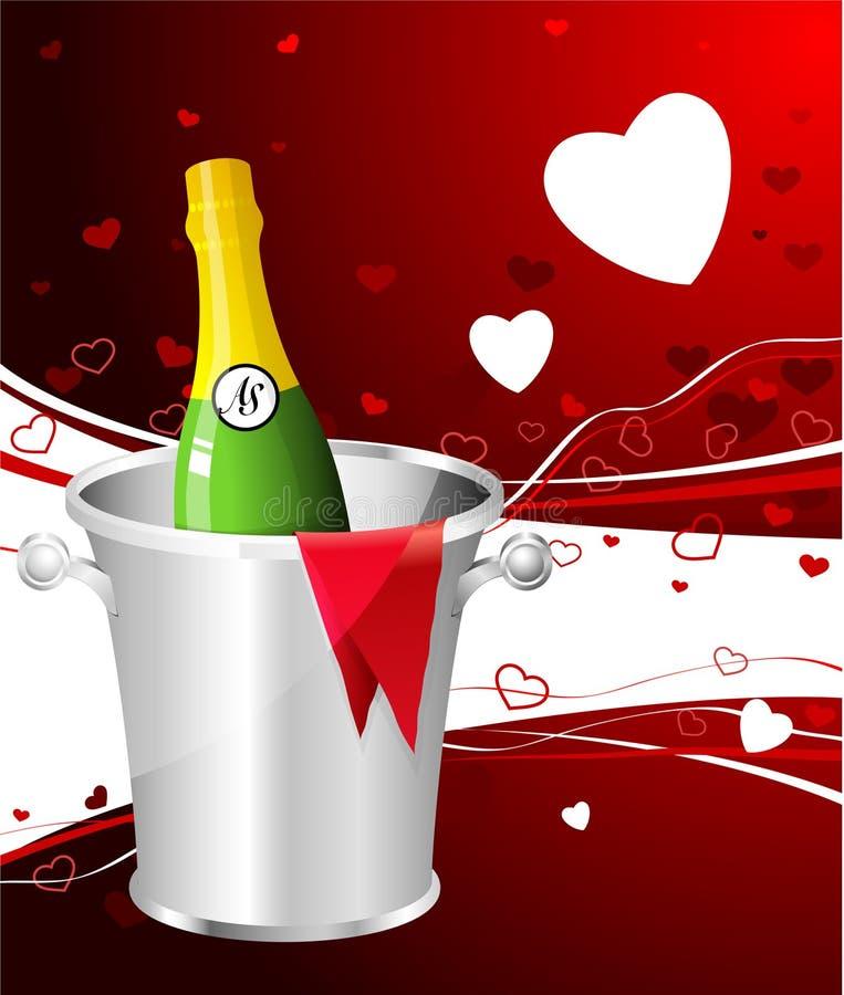 背景香槟日设计s华伦泰 向量例证