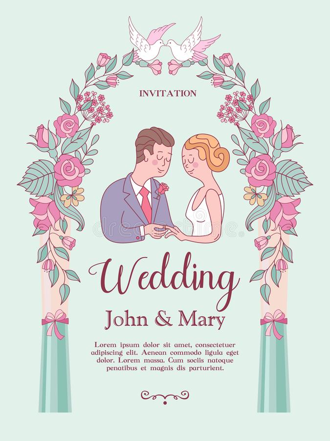 背景高雅重点邀请浪漫符号温暖的婚礼 与新娘和新郎的可爱的喜帖 皇族释放例证