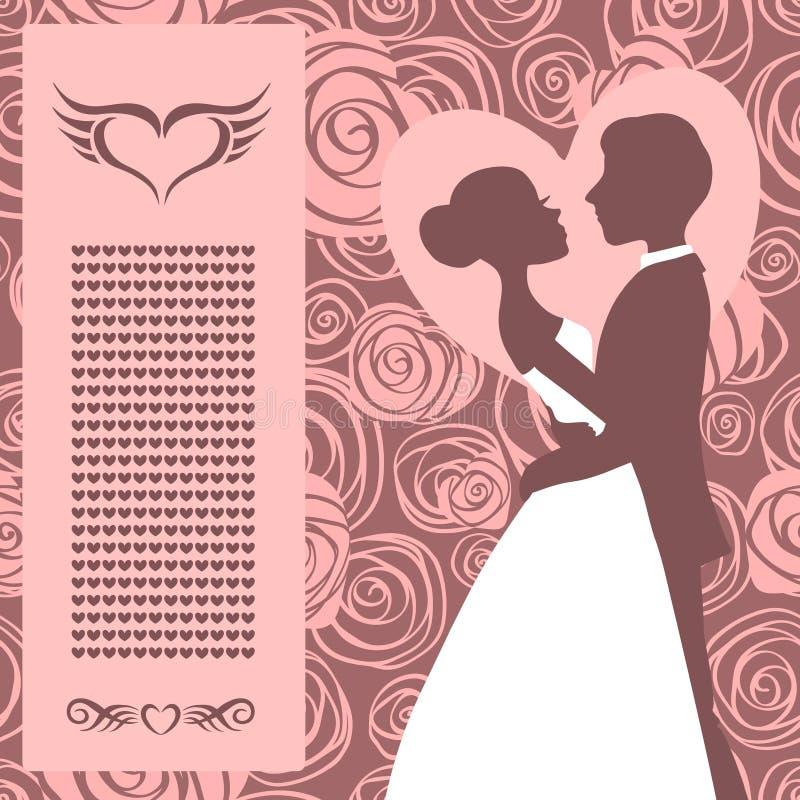 背景高雅重点邀请浪漫符号温暖的婚礼 新娘和新郎剪影 皇族释放例证