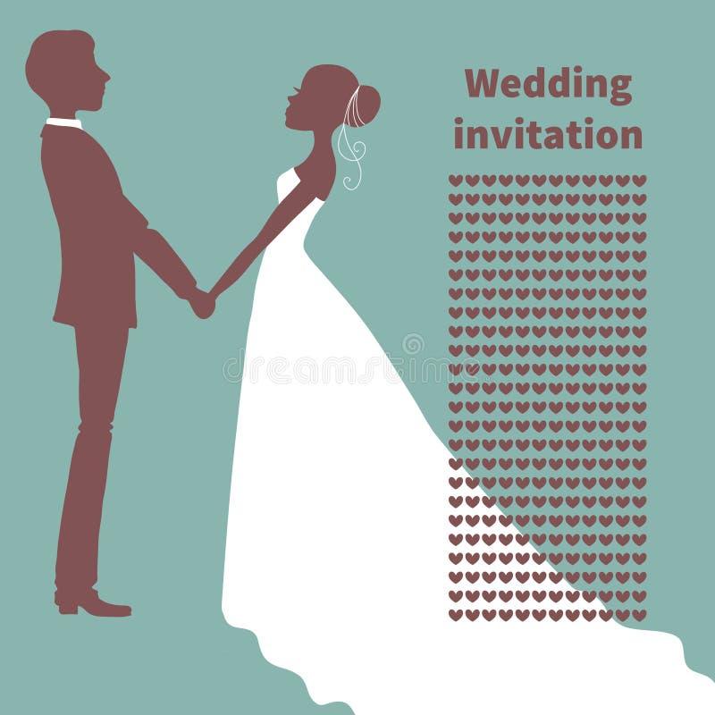 背景高雅重点邀请浪漫符号温暖的婚礼 新娘和新郎剪影 向量例证