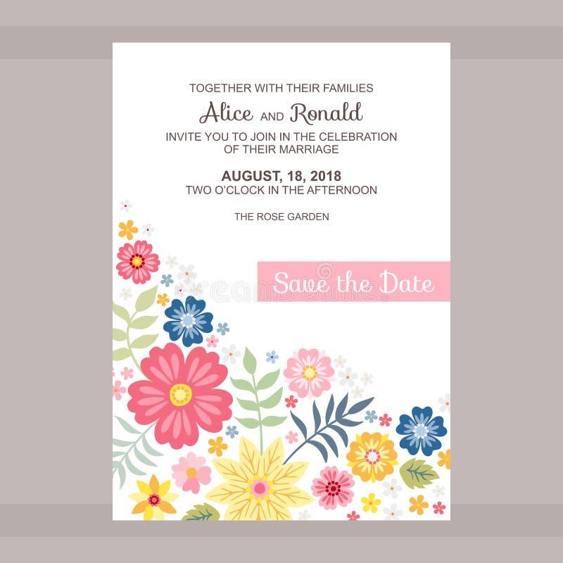 背景高雅重点邀请浪漫符号温暖的婚礼 日期保存 与地方的逗人喜爱的卡片文本和明亮的花的 库存例证