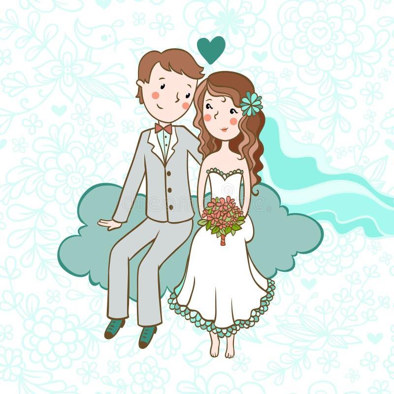 背景高雅重点邀请浪漫符号温暖的婚礼 向量例证