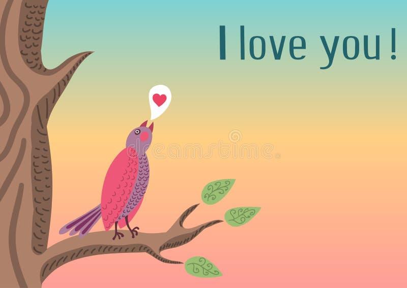 背景鸟逗人喜爱浪漫 向量例证