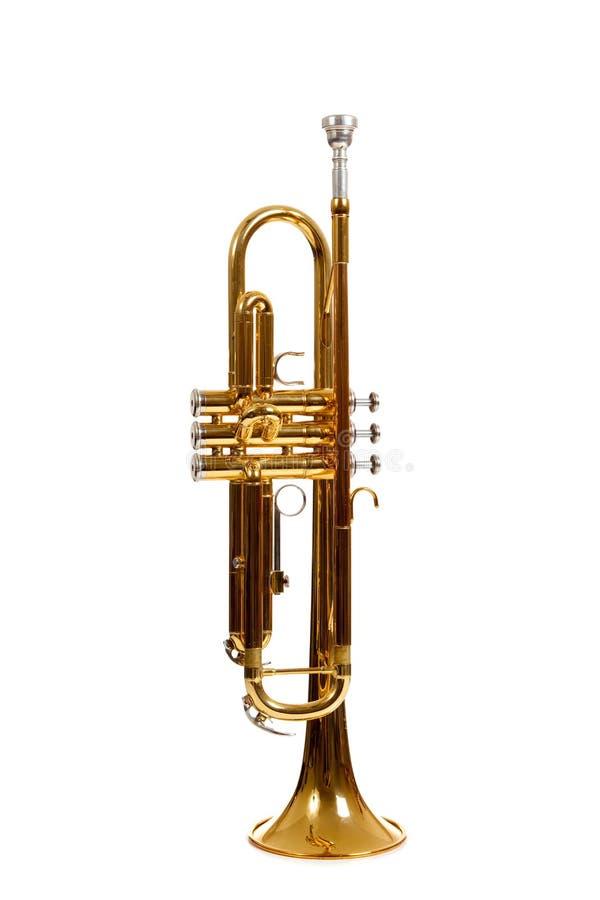 背景黄铜喇叭白色 免版税库存照片