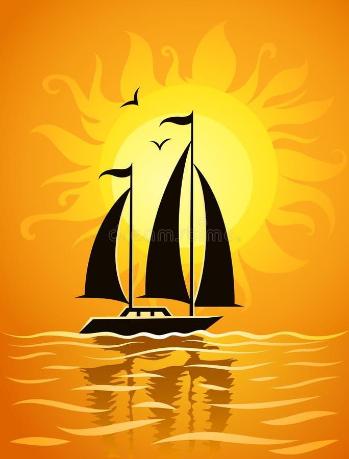 背景黑海船剪影日落 皇族释放例证