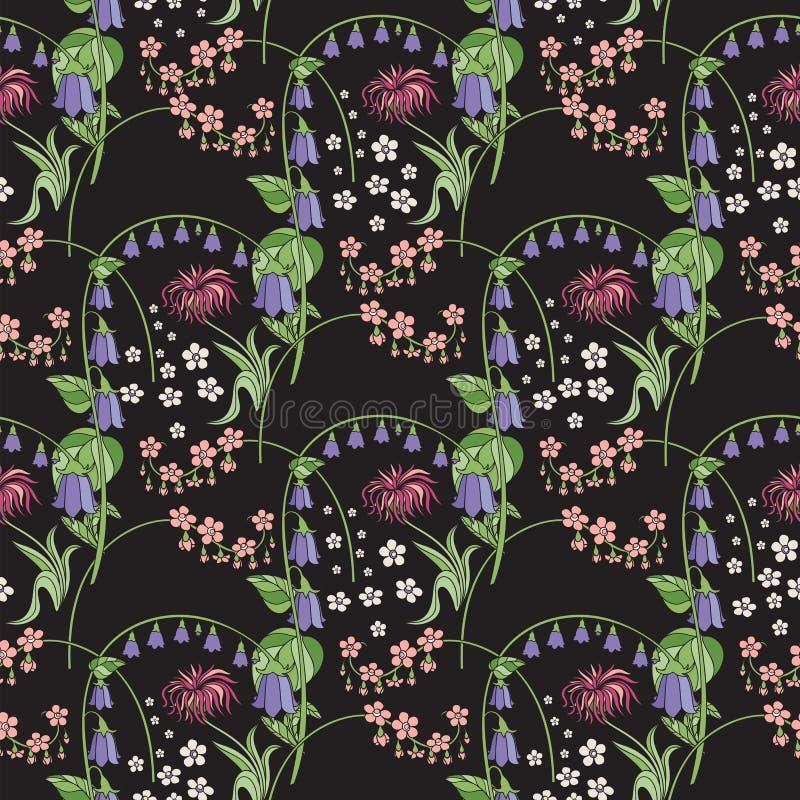 背景黑色不尽的花卉模式无缝的瓦片 风轮草 库存例证