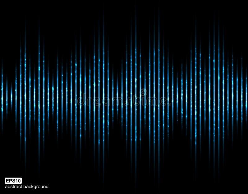 背景黑色例证声音向量挥动白色 音乐数字式调平器 抽象轻的未来派背景 库存例证