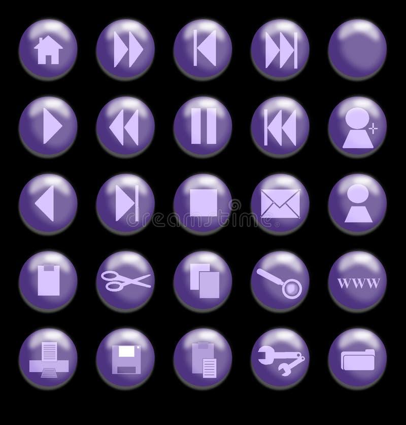 背景黑色按钮玻璃紫色 向量例证