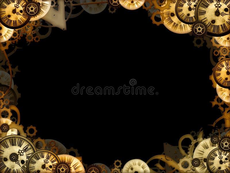 背景黑色时钟框架葡萄酒 皇族释放例证