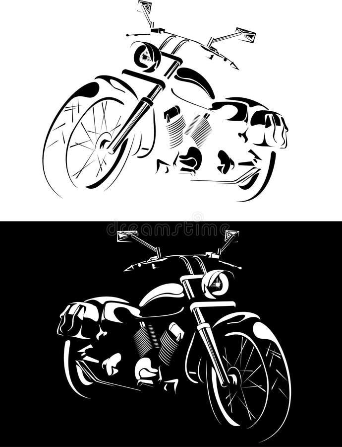 背景黑色查出的motobike白色 库存例证