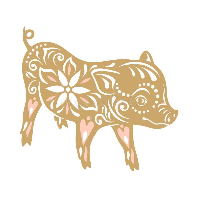 背景黑色概念性图象猪符号 春节问候,猪的年 皇族释放例证