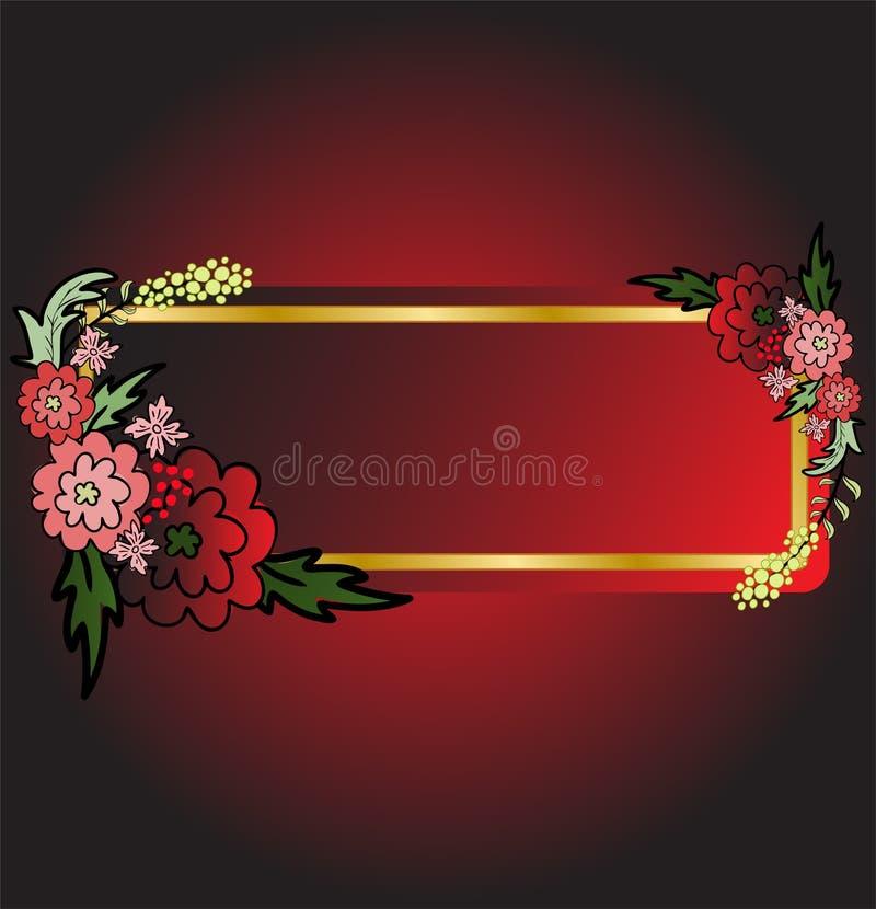 背景黑色看板卡花红色 皇族释放例证