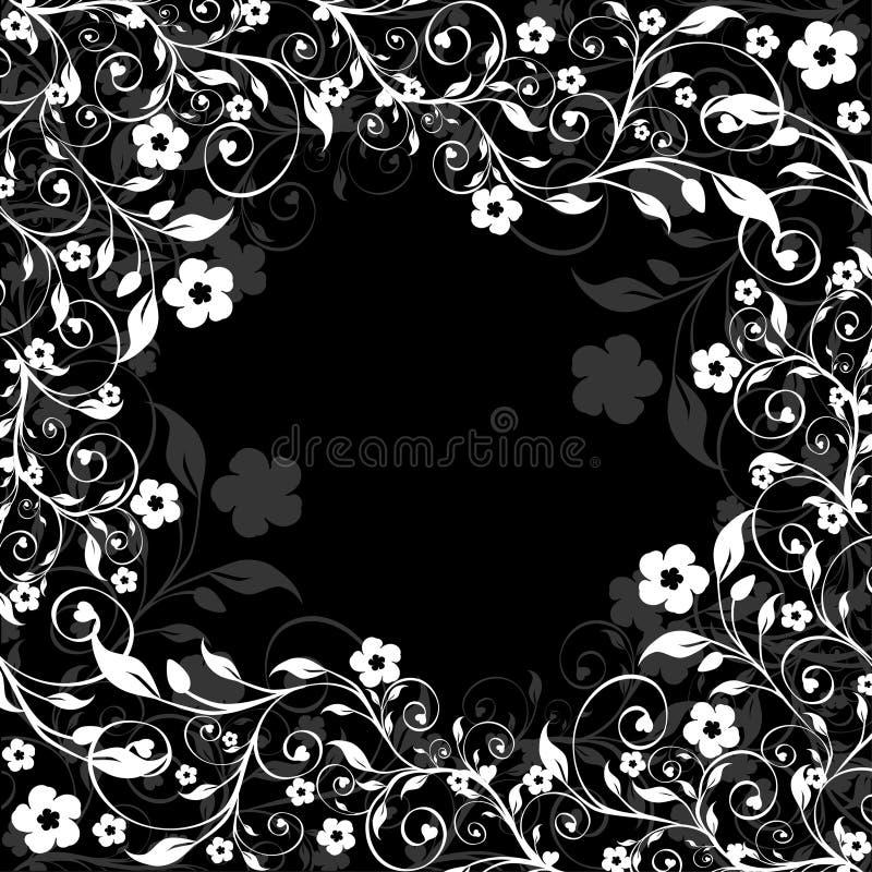 背景黑色花卉框架 向量例证