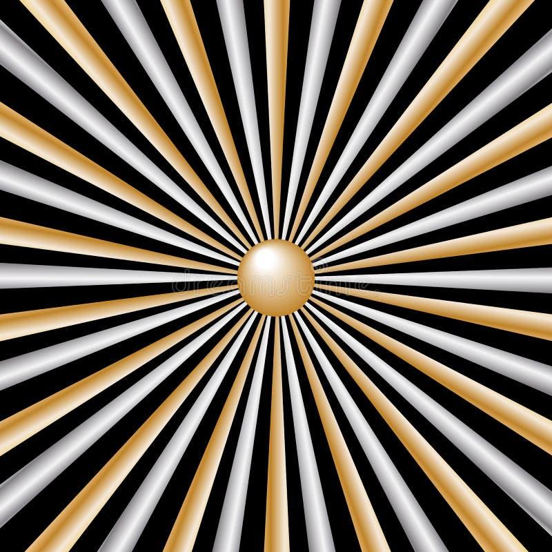 背景黑色金子发出光线银 向量例证