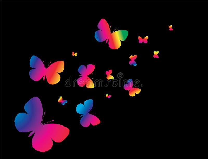 背景黑色butterflys 皇族释放例证