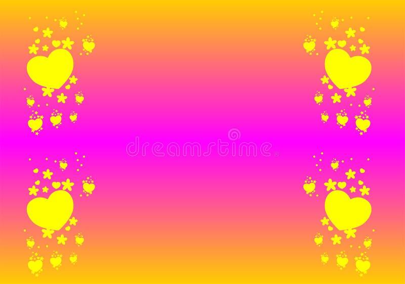 背景,与花,桃红色和黄色,抽象,例证,传染媒介的心脏, 向量例证