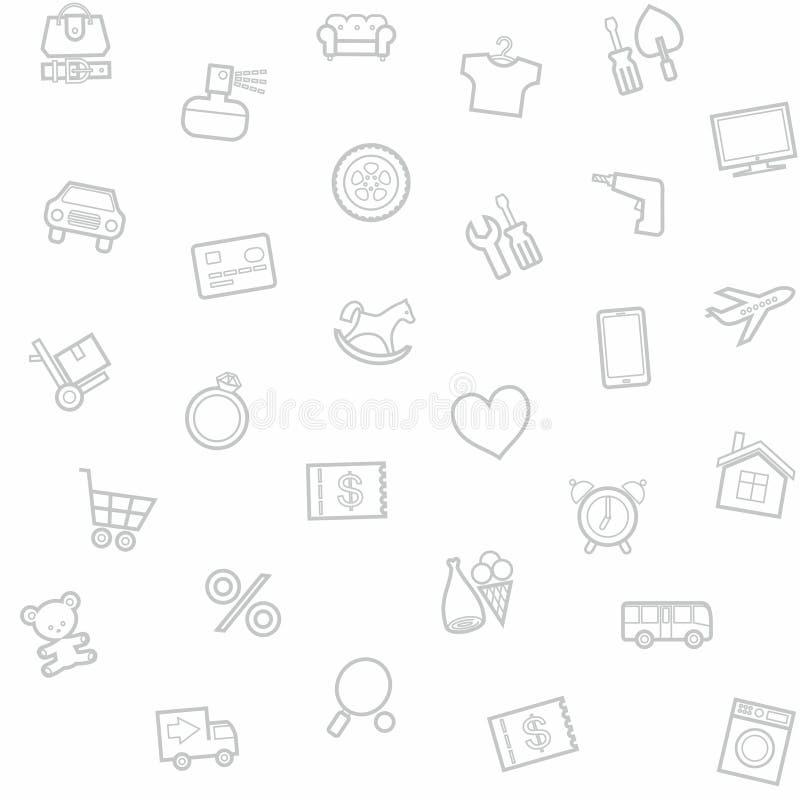 背景,无缝,白色,物品类别,网上商店 皇族释放例证