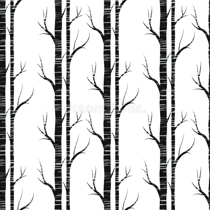 背景贝加尔湖桦树湖结构树 无缝的模式 向量 墙纸的fabricDesign元素,网站背景,婴儿送礼会邀请,生日贺卡 库存例证
