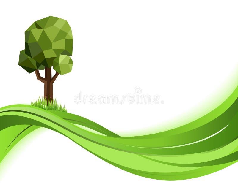 背景绿色本质 Eco概念例证 与copyspace的抽象传染媒介 向量例证