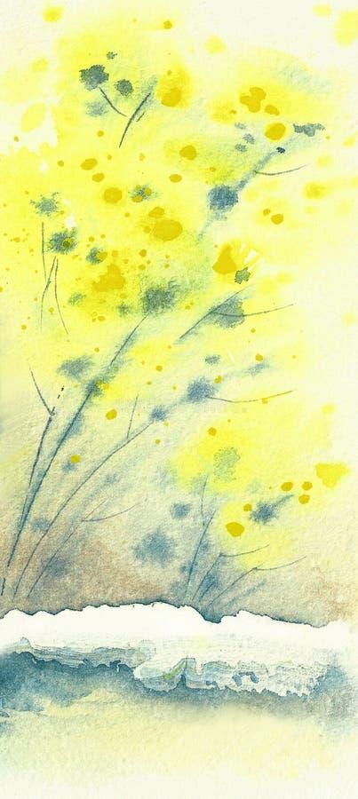 背景-黄色含羞草 一棵植物的分支雪的 免版税库存照片