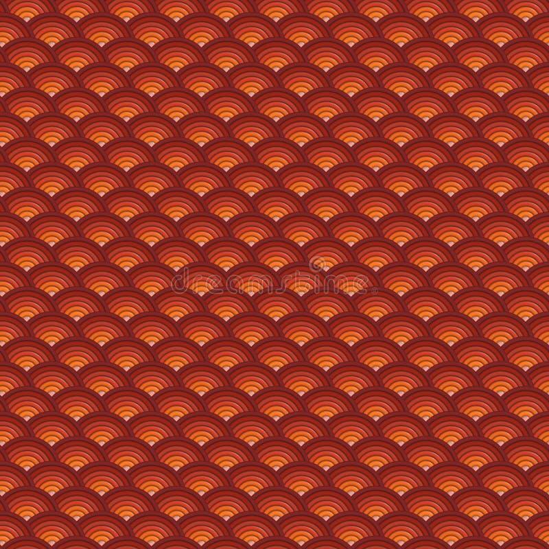 背景3d在橙红的同心管子样式 库存例证