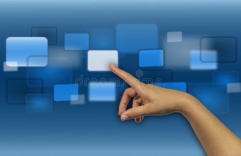 背景3d翻译的屏幕按钮手手指蓝色显示 库存照片