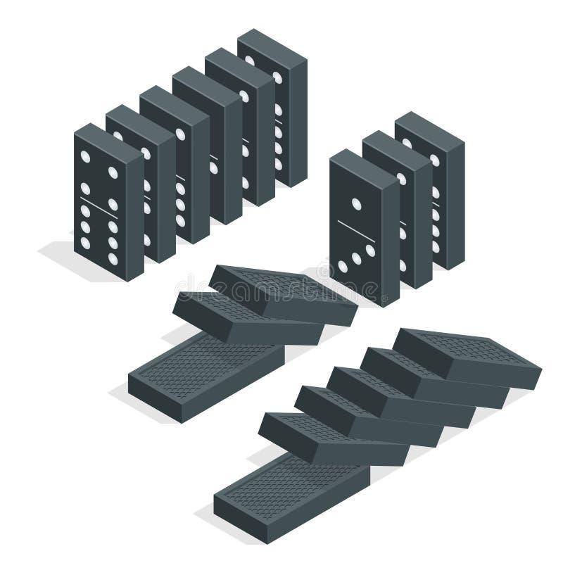 背景Domino下来影响下跌的查出的部分红色白色 黑等量多米诺全套在白色的 平的传染媒介例证 皇族释放例证
