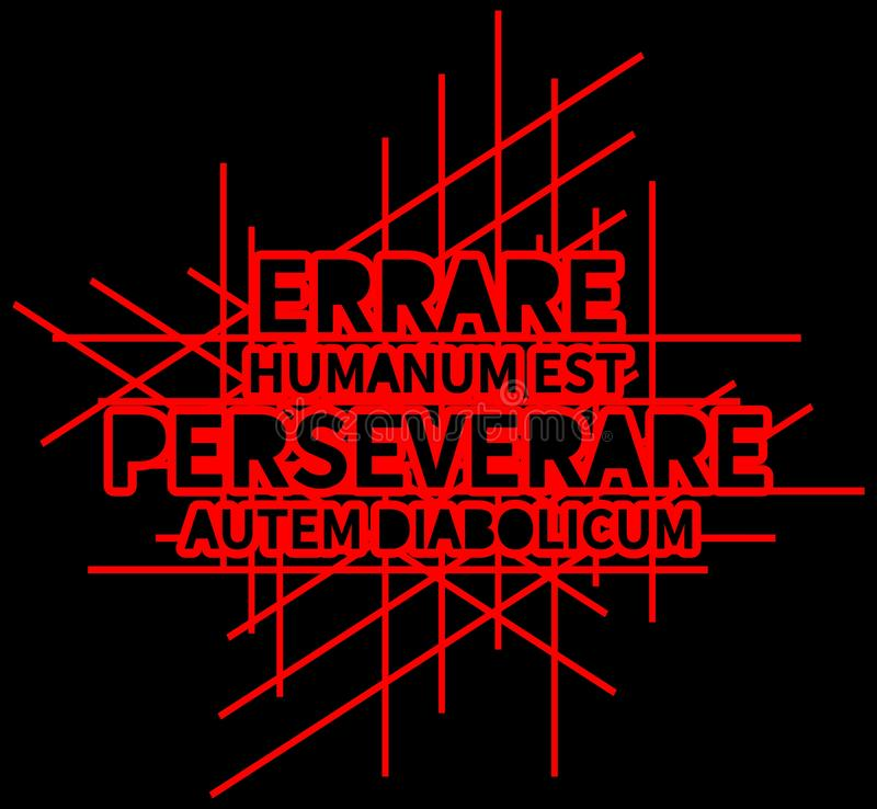 背景Errare humanum est perseverare autem diabolicum,线,红色,黑, 皇族释放例证