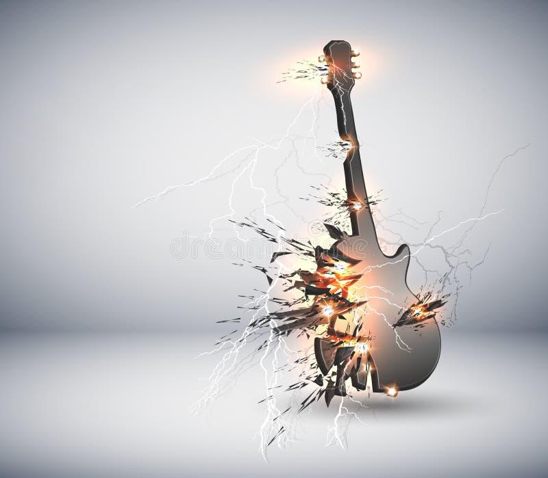 背景explisive吉他音乐 库存例证