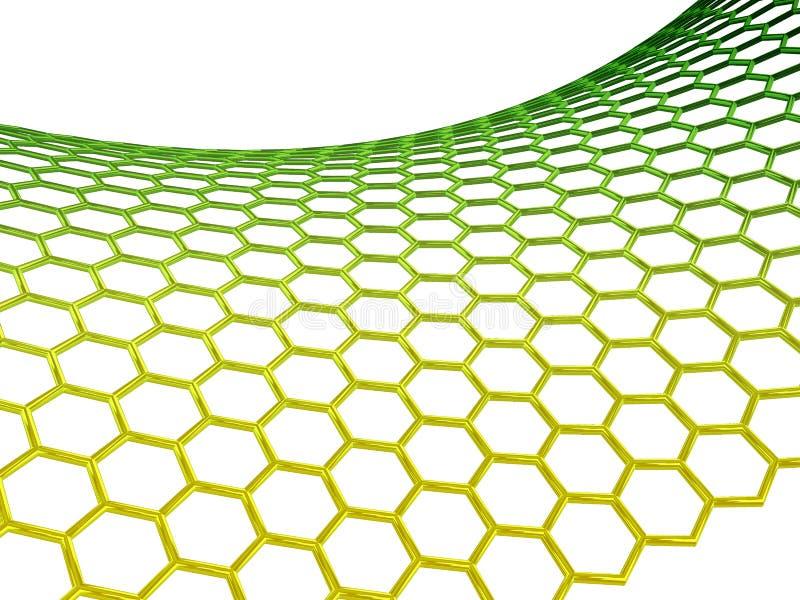 背景graphene分子结构白色 免版税库存照片