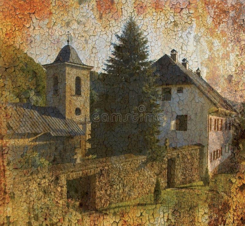 背景grunge修道院正统照片 库存例证