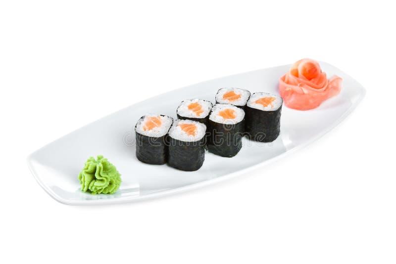 背景maki卷寿司syake白色 免版税库存照片