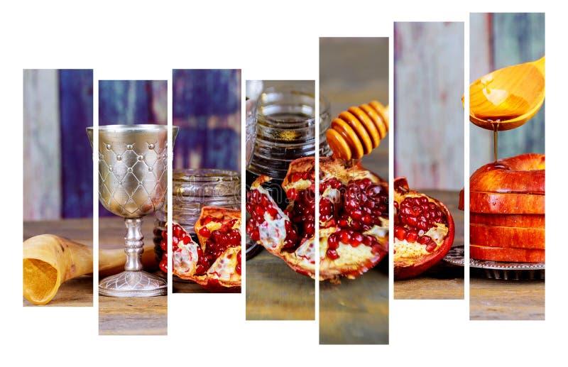 背景Rosh hashanah犹太新年 传统假日标志-羊角号、蜂蜜和苹果 免版税库存图片