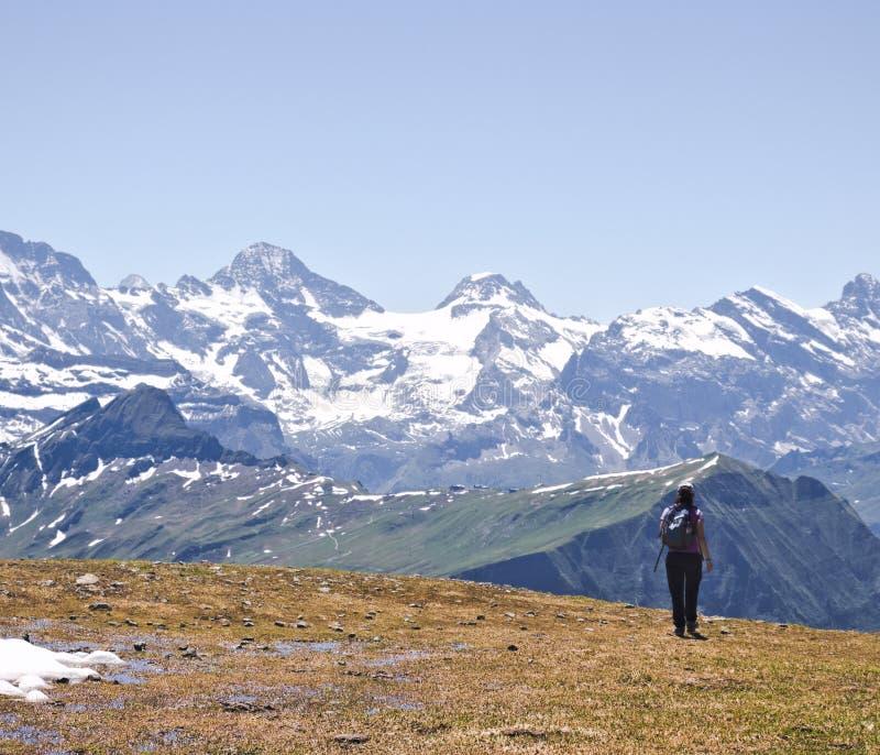 背着背包在高海拔高原上徒步旅行的女性 免版税库存照片