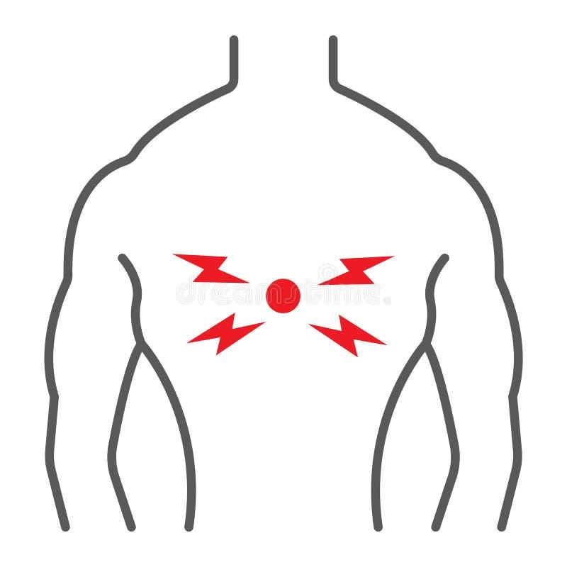 背部疼痛稀薄的线象,身体和痛苦,后面伤害标志,向量图形,在白色背景的一个线性样式 向量例证
